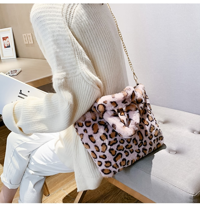 Fur Bag animal print leopard bag women ladies winter warm crossbody bags famous Brand Large Capacity shoudler Clutch 2019 new