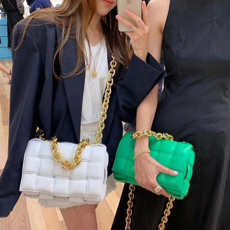 Women Crossbody Bag Weave Flap Bags For Women 2020 Quality Leather Thick Chain Shoulder Messenger Bags Female Handbag And Purse