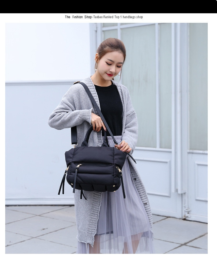 2020 New Winter Space Cotton Handbag Women Casual Totes Bag Down Feather Padded Lady Shoulder Bag Sac A Mian Crossbody Bag
