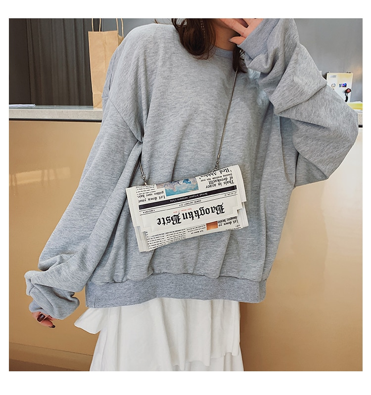 Women Joker Messenger Bag Chain Shoulder Bag Personality Fashion Small Square Newspaper News Styling Bags Wholesale Bolso Mujer