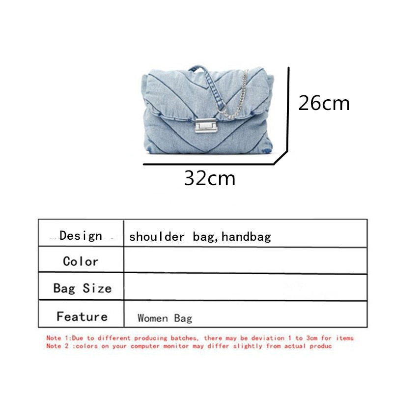 Luxury designer jeans bags women denim chain crossbody bags for women 2020 women's handbags shoulder bags messenger female