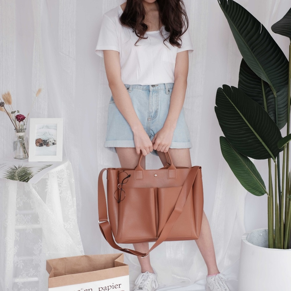 2020 new Pu Leather laptop Bag Simple Handbags Famous Brands Women Shoulder Bag Casual Big Tote Vintage Ladies Crossbody Bags
