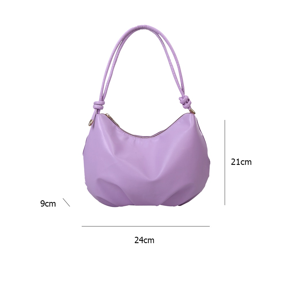 Simple Solid Color Pleaded Crossbody Handbags Casual Bandage PU Leather Women Shoulder Underarm Bag Pouch Large Capacity Travel