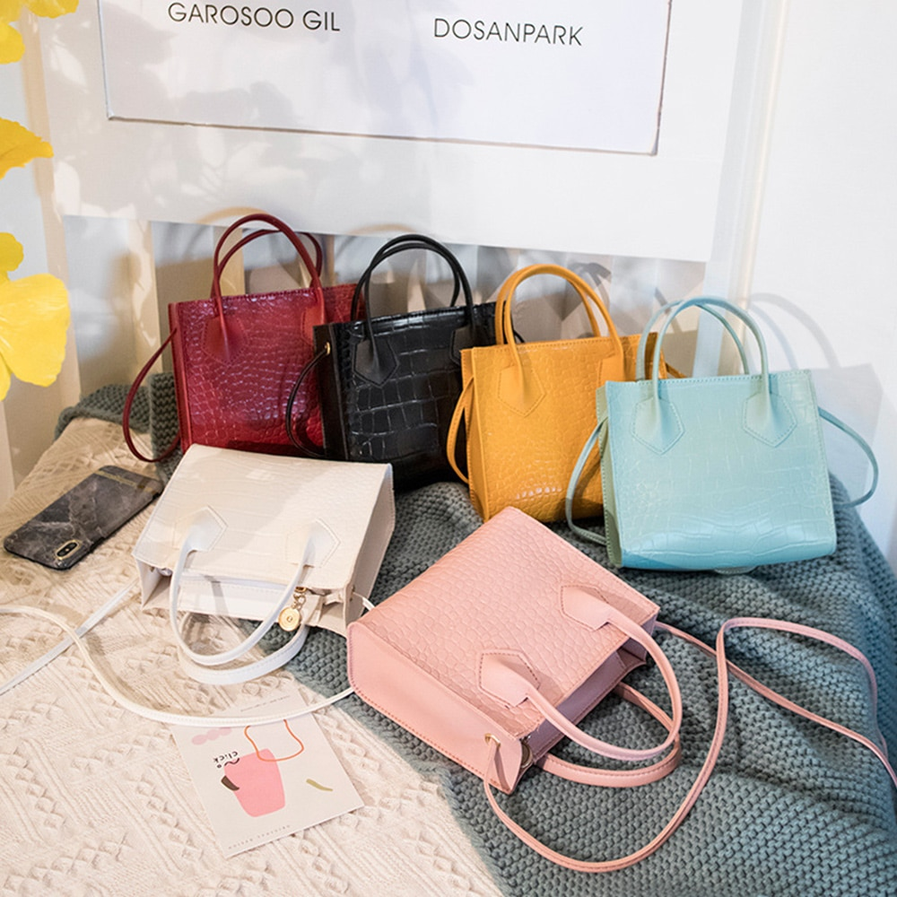Mini Small Square Bags for Women Ladies Shoulder Bag PU Solid Color Buckle Crossbody Bag Small Square Handbag