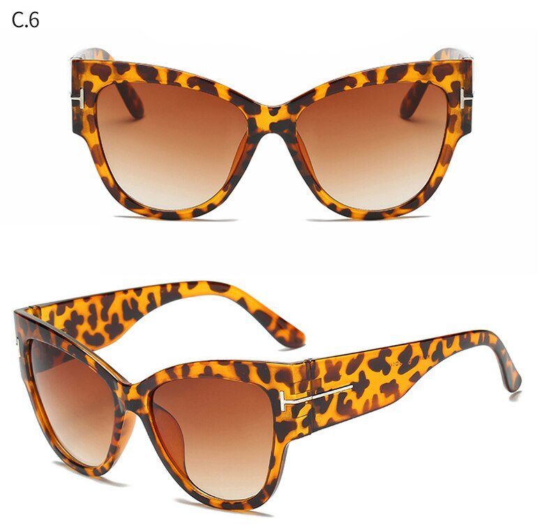 FSQCE New Fashion Brand Designer Cat Eye Women Sunglasses Female Gradient Points Sun Glasses Big Oculos feminino de sol UV400