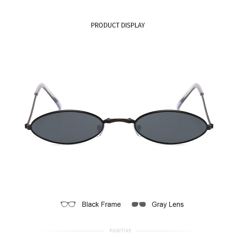 Retro Small Oval Sunglasses Women Vintage Brand Shades Black Red Metal Color Sun Glasses For Female Fashion Designer Lunette