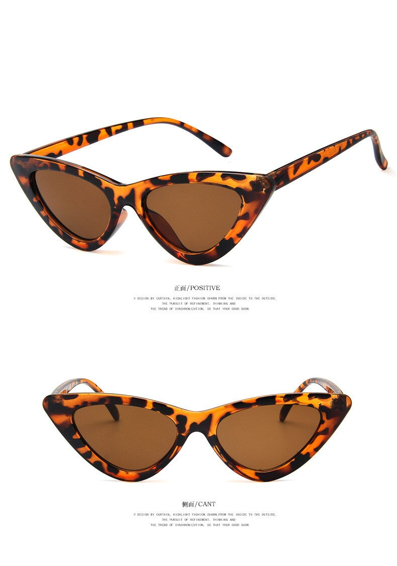 COOYOUNG Cute Sexy Retro Cat Eye Sunglasses Women Small Black White Triangle Vintage Cheap Ladies Sun Glasses Red Female UV400