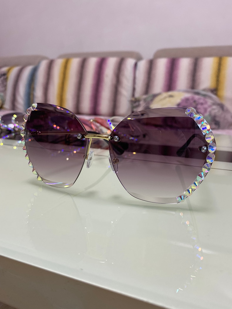 2020 Vintage Fashion Oversized Rimless Sunglasses Women Famous Luxury Brand Design Sexy Diamond Square Sun Glasses For Female