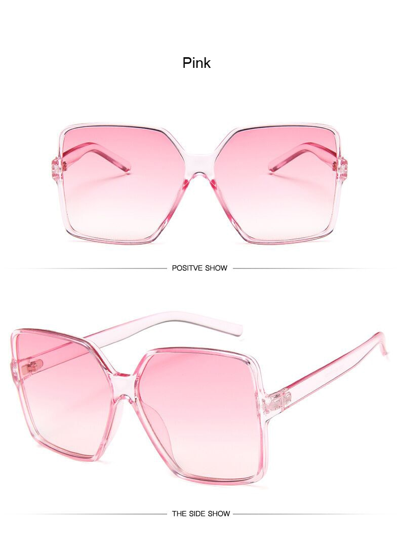 Black Square Oversized Sunglasses Women Big Frame Colorful Sun Glasses Female Mirror Oculos Unisex Gradient Hip Hop Shades
